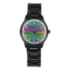 Digital Polka Dots Patterned Background Stainless Steel Round Watch by Nexatart