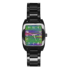 Digital Polka Dots Patterned Background Stainless Steel Barrel Watch by Nexatart