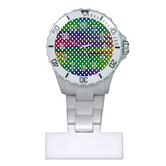 Digital Polka Dots Patterned Background Plastic Nurses Watch by Nexatart
