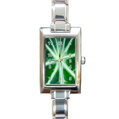 Green Leaf Macro Detail Rectangle Italian Charm Watch by Nexatart