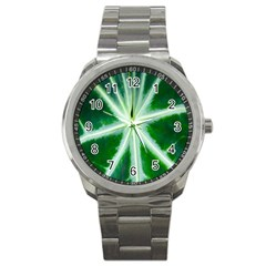 Green Leaf Macro Detail Sport Metal Watch by Nexatart