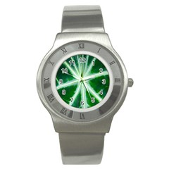 Green Leaf Macro Detail Stainless Steel Watch by Nexatart