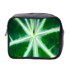 Green Leaf Macro Detail Mini Toiletries Bag 2 Side by Nexatart