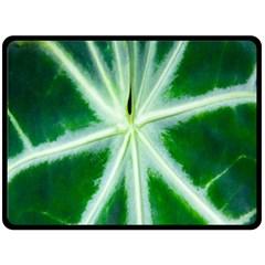 Green Leaf Macro Detail Double Sided Fleece Blanket (large)  by Nexatart