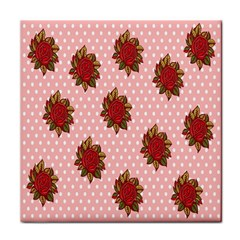 Pink Polka Dot Background With Red Roses Tile Coasters by Nexatart
