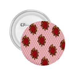 Pink Polka Dot Background With Red Roses 2 25  Buttons by Nexatart