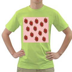 Pink Polka Dot Background With Red Roses Green T Shirt by Nexatart