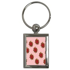 Pink Polka Dot Background With Red Roses Key Chains (rectangle)  by Nexatart