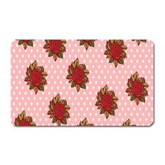 Pink Polka Dot Background With Red Roses Magnet (rectangular)