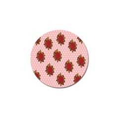 Pink Polka Dot Background With Red Roses Golf Ball Marker (4 Pack) by Nexatart