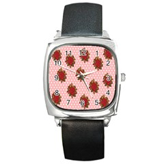 Pink Polka Dot Background With Red Roses Square Metal Watch by Nexatart