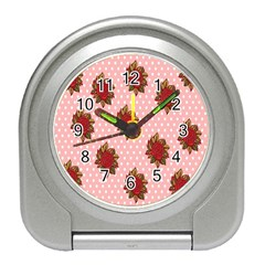 Pink Polka Dot Background With Red Roses Travel Alarm Clocks