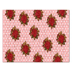 Pink Polka Dot Background With Red Roses Rectangular Jigsaw Puzzl by Nexatart