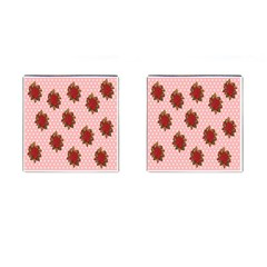 Pink Polka Dot Background With Red Roses Cufflinks (square)