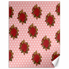 Pink Polka Dot Background With Red Roses Canvas 12  X 16   by Nexatart