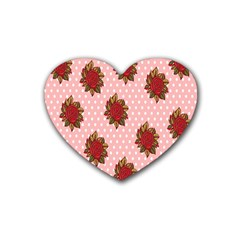 Pink Polka Dot Background With Red Roses Heart Coaster (4 Pack)  by Nexatart