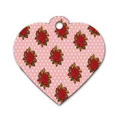 Pink Polka Dot Background With Red Roses Dog Tag Heart (One Side)