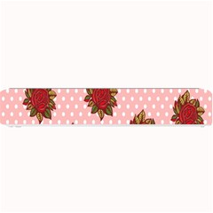Pink Polka Dot Background With Red Roses Small Bar Mats by Nexatart