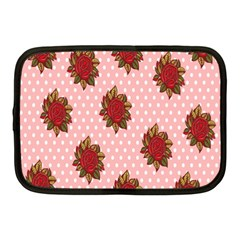 Pink Polka Dot Background With Red Roses Netbook Case (medium)  by Nexatart