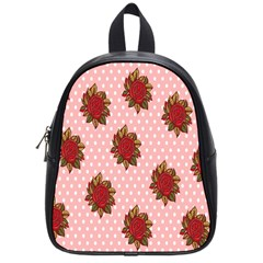 Pink Polka Dot Background With Red Roses School Bags (small)  by Nexatart
