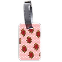 Pink Polka Dot Background With Red Roses Luggage Tags (two Sides) by Nexatart