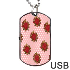 Pink Polka Dot Background With Red Roses Dog Tag Usb Flash (two Sides) by Nexatart