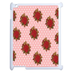Pink Polka Dot Background With Red Roses Apple Ipad 2 Case (white) by Nexatart