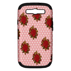Pink Polka Dot Background With Red Roses Samsung Galaxy S Iii Hardshell Case (pc+silicone) by Nexatart