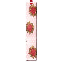 Pink Polka Dot Background With Red Roses Large Book Marks by Nexatart