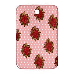 Pink Polka Dot Background With Red Roses Samsung Galaxy Note 8 0 N5100 Hardshell Case  by Nexatart