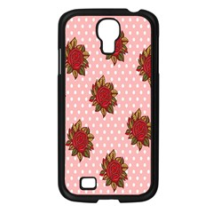 Pink Polka Dot Background With Red Roses Samsung Galaxy S4 I9500/ I9505 Case (black) by Nexatart