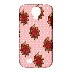 Pink Polka Dot Background With Red Roses Samsung Galaxy S4 Classic Hardshell Case (pc+silicone)