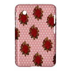 Pink Polka Dot Background With Red Roses Samsung Galaxy Tab 2 (7 ) P3100 Hardshell Case