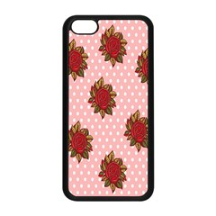 Pink Polka Dot Background With Red Roses Apple Iphone 5c Seamless Case (black) by Nexatart