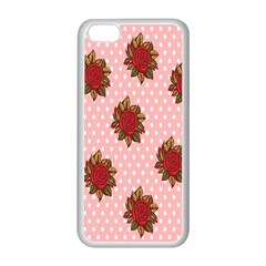 Pink Polka Dot Background With Red Roses Apple Iphone 5c Seamless Case (white)