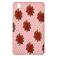 Pink Polka Dot Background With Red Roses Samsung Galaxy Tab Pro 8 4 Hardshell Case by Nexatart