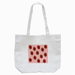 Pink Polka Dot Background With Red Roses Tote Bag (white) by Nexatart
