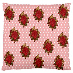 Pink Polka Dot Background With Red Roses Standard Flano Cushion Case (one Side) by Nexatart