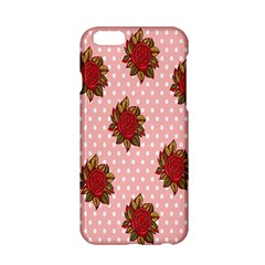 Pink Polka Dot Background With Red Roses Apple Iphone 6/6s Hardshell Case by Nexatart