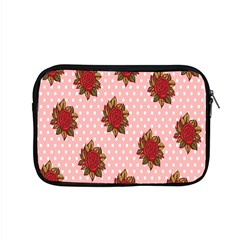Pink Polka Dot Background With Red Roses Apple Macbook Pro 15  Zipper Case by Nexatart