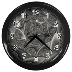Fractal Black Ribbon Spirals Wall Clocks (black) by Nexatart