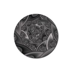 Fractal Black Ribbon Spirals Rubber Round Coaster (4 Pack)  by Nexatart