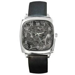 Fractal Black Ribbon Spirals Square Metal Watch by Nexatart