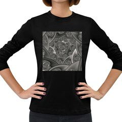 Fractal Black Ribbon Spirals Women s Long Sleeve Dark T Shirts