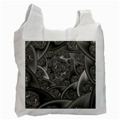 Fractal Black Ribbon Spirals Recycle Bag (two Side)