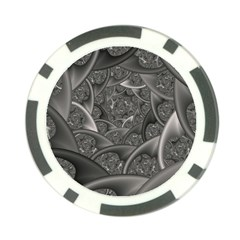 Fractal Black Ribbon Spirals Poker Chip Card Guard (10 Pack)