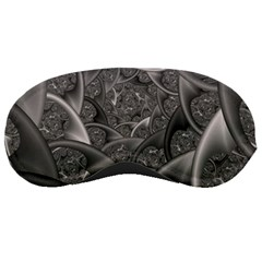 Fractal Black Ribbon Spirals Sleeping Masks