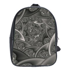 Fractal Black Ribbon Spirals School Bags(large)  by Nexatart