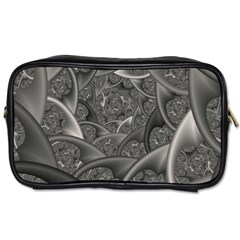Fractal Black Ribbon Spirals Toiletries Bags by Nexatart