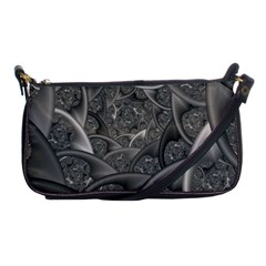 Fractal Black Ribbon Spirals Shoulder Clutch Bags by Nexatart